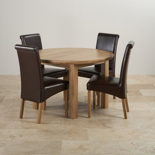 Knightsbridge Natural Solid Oak 4ft Round Extending Table with 4 Scroll Back Brown Leather Chairs
