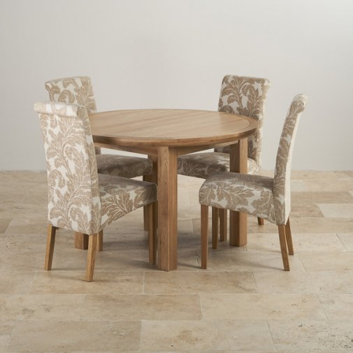Knightsbridge Natural Oak Dining Set - 4ft Round Extending Table & 4 Scroll Back Patterned Chairs