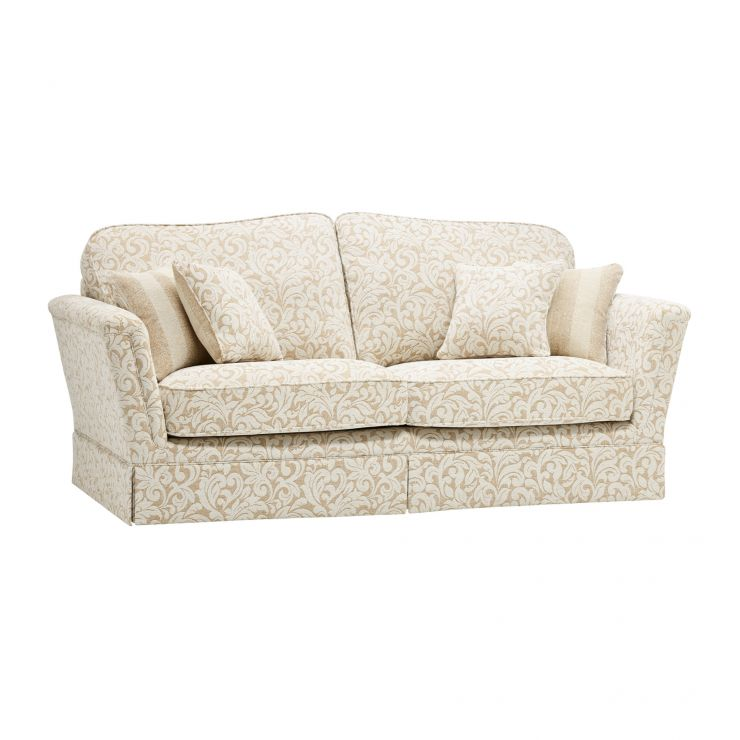 Lanesborough 3 Seater Sofa in Larkin Floral Beige Fabric