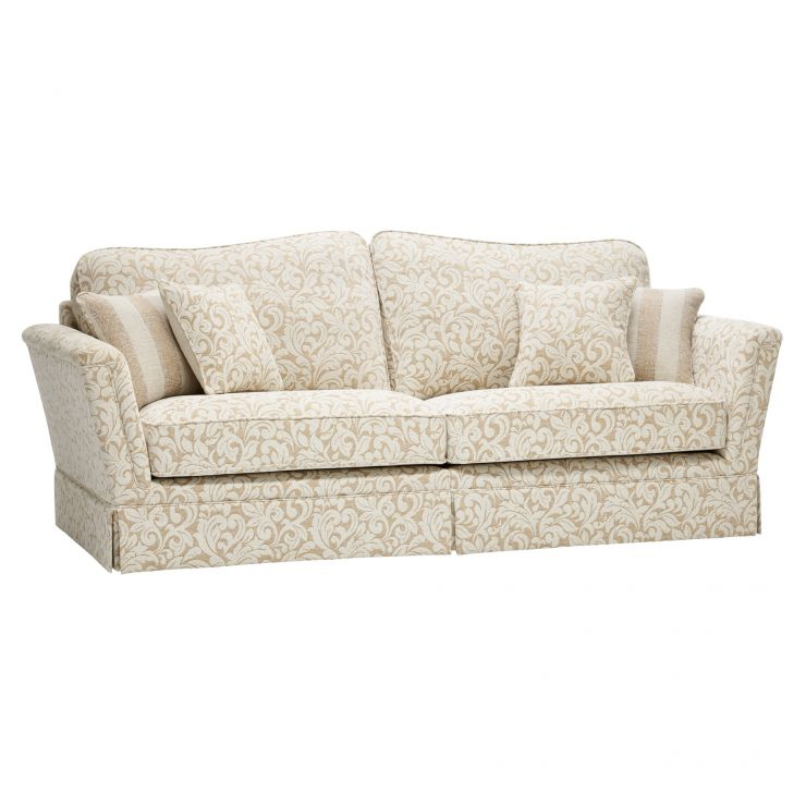 Lanesborough 4 Seater Sofa in Larkin Floral Beige Fabric