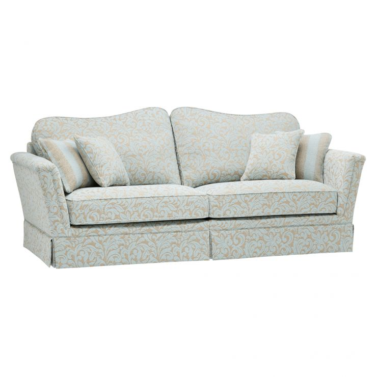 Lanesborough 4 Seater Sofa in Larkin Floral Duck Egg Fabric - Image 1