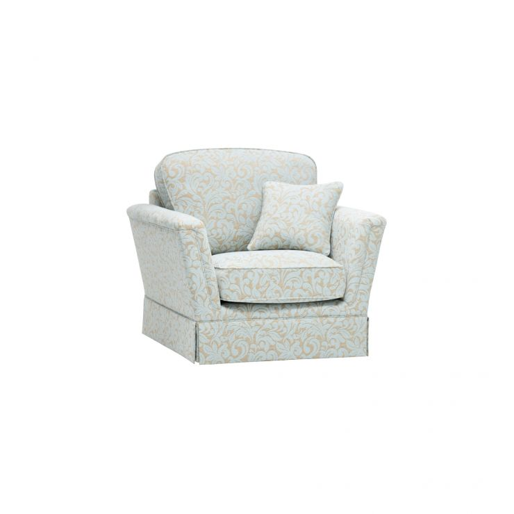 Lanesborough Armchair in Larkin Floral Duck Egg Fabric - Image 1