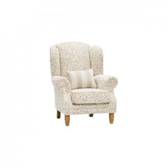Lanesborough Wing Chair in Larkin Floral Beige Fabric