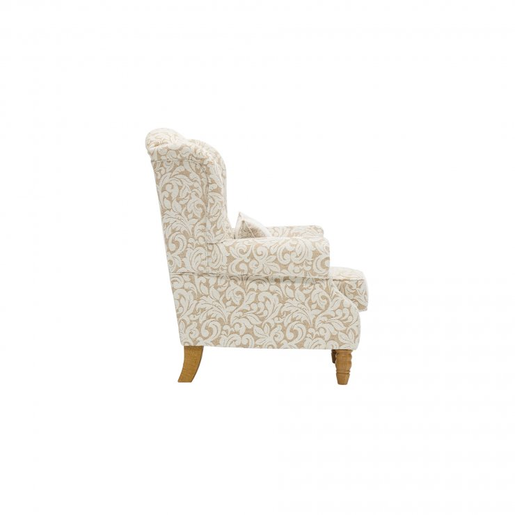 Lanesborough Wing Chair in Larkin Floral Beige Fabric