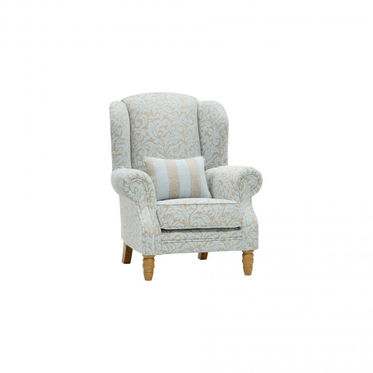 Lanesborough Wing Chair in Larkin Floral Duck Egg Fabric - Image 8