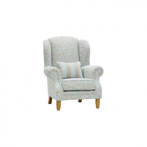 Lanesborough Wing Chair in Larkin Floral Duck Egg Fabric