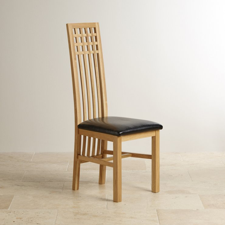 Lattice Back Natural Solid Oak and Black Leather Dining Chair