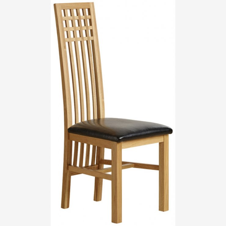 Lattice Back Natural Solid Oak and Black Leather Dining Chair - Image 4