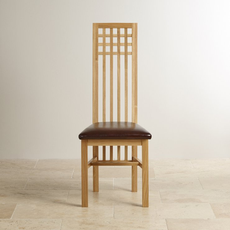 Lattice Back Natural Solid Oak and Brown Leather Dining Chair