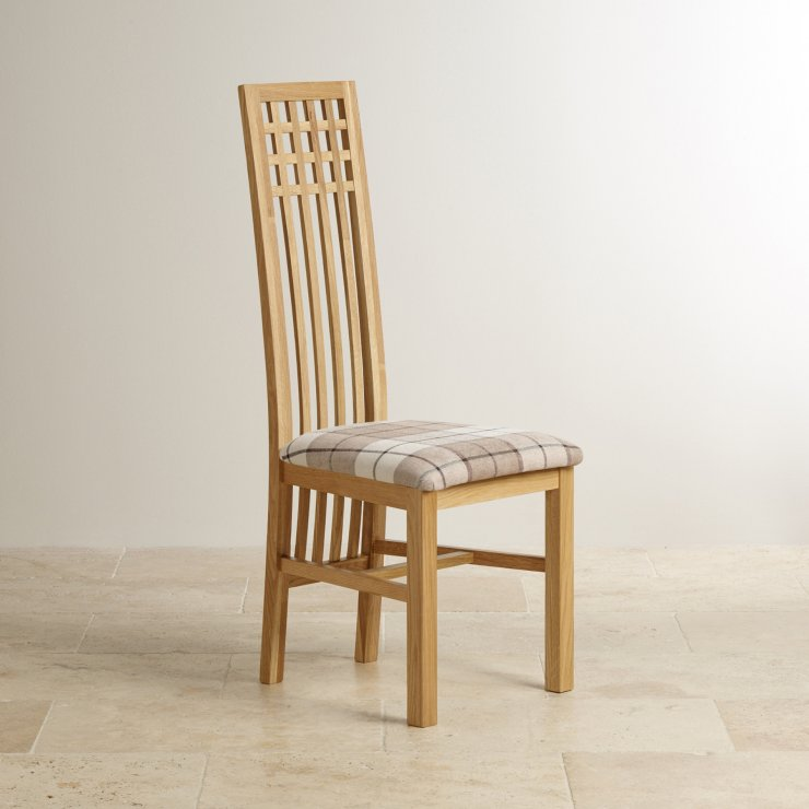 Lattice Back Natural Solid Oak and Check Brown Fabric Chair