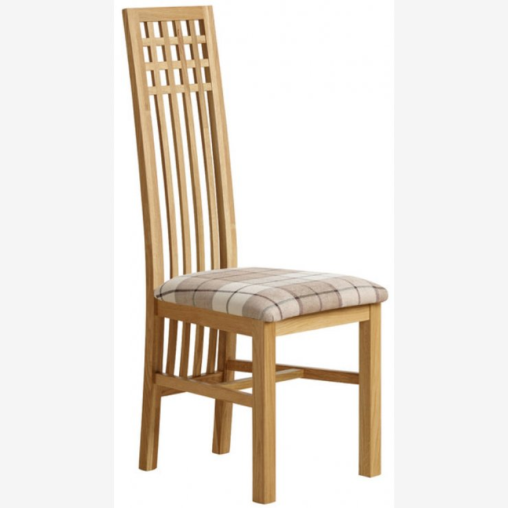 Lattice Back Natural Solid Oak and Check Brown Fabric Chair - Image 4