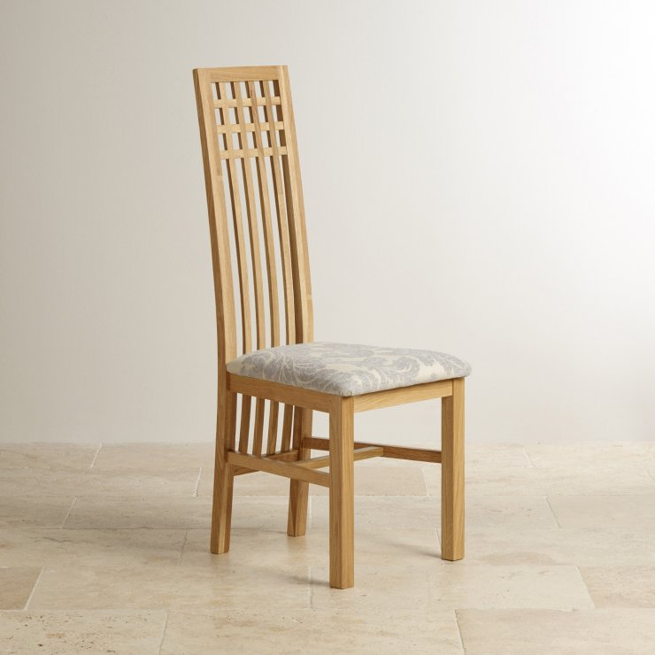 Lattice Back Natural Solid Oak and Patterned Grey Fabric Dining Chair