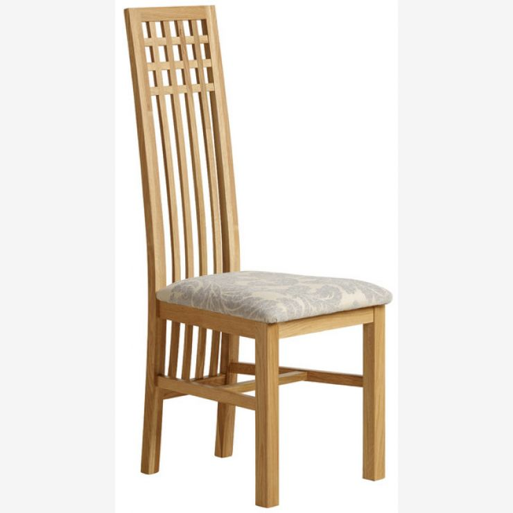 Lattice Back Natural Solid Oak and Patterned Grey Fabric Dining Chair - Image 4