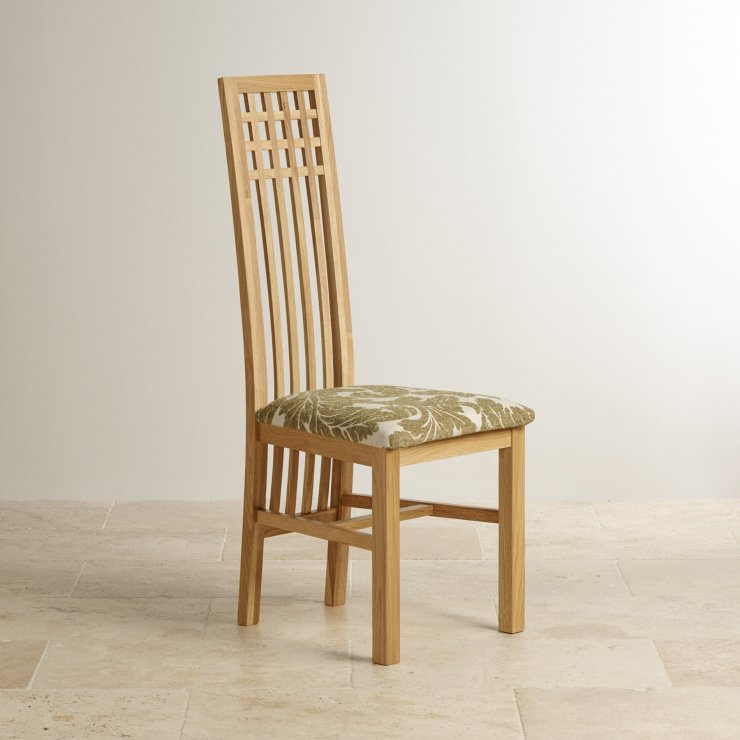 Lattice Back Natural Solid Oak and Patterned Sage Fabric Dining Chair