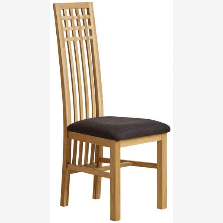 Lattice Back Natural Solid Oak and Plain Black Fabric Dining Chair - Image 4