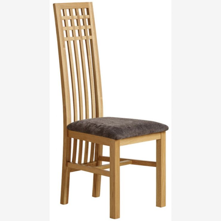 Lattice Back Natural Solid Oak and Plain Charcoal Fabric Dining Chair - Image 4