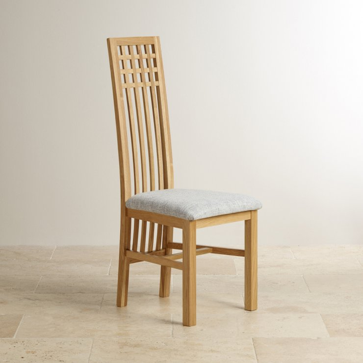 Lattice Back Natural Solid Oak and Plain Grey Fabric Dining Chair - Image 3