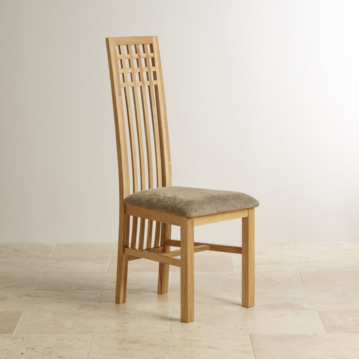 Lattice Back Natural Solid Oak and Plain Sage Fabric Dining Chair