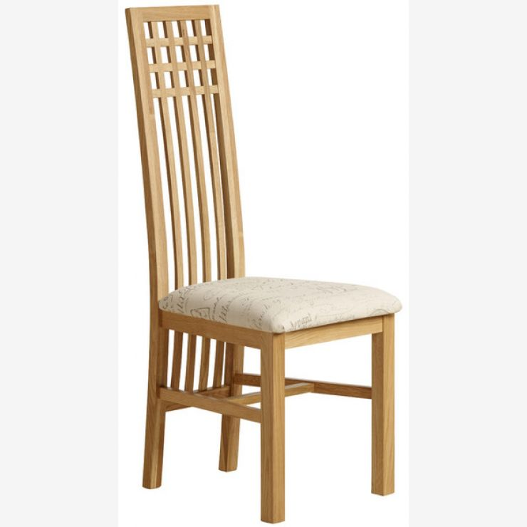 Lattice Back Natural Solid Oak and Scripted Beige Fabric Chair - Image 4