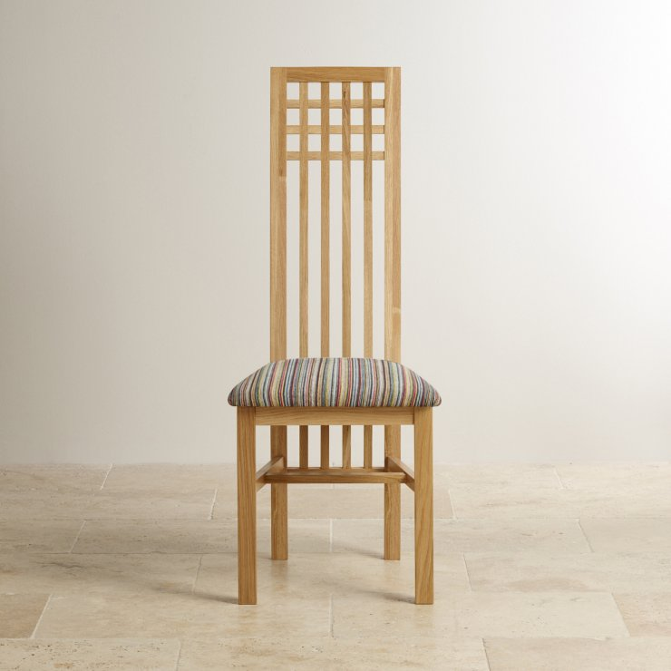 Lattice Back Natural Solid Oak and Striped Multi-coloured Fabric Chair