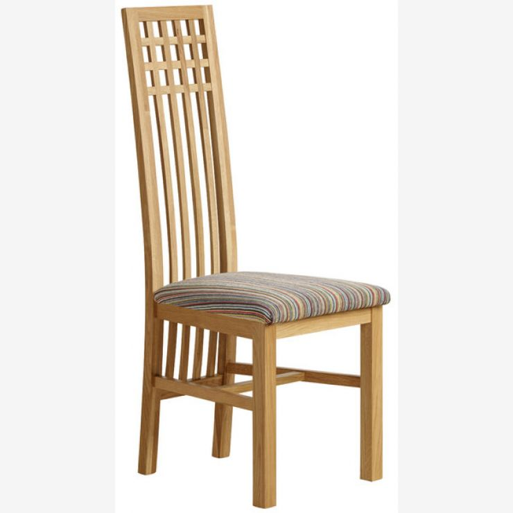 Lattice Back Natural Solid Oak and Striped Multi-coloured Fabric Chair - Image 4
