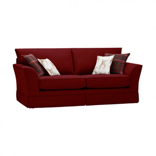 Liberty 3 Seater Sofa - Hawkshead Red Fabric with Brown Scatters
