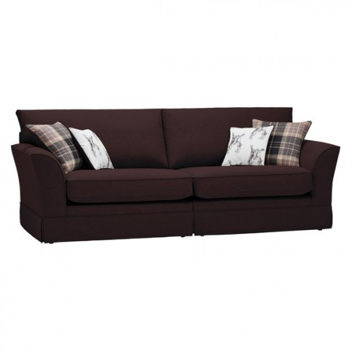 Liberty 4 Seater Sofa - Hawkshead Brown Fabric with Beige Scatters