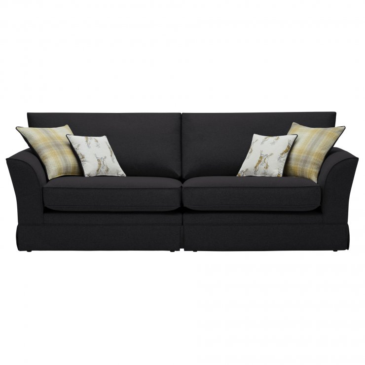 Liberty 4 Seater Sofa - Hawkshead Charcoal Fabric with Yellow Scatters