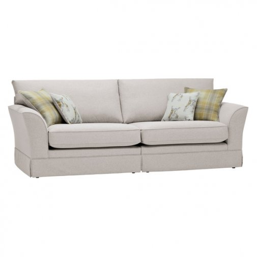 Liberty 4 Seater Sofa - Hawkshead Cream Fabric with Yellow Scatters
