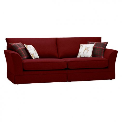 Liberty 4 Seater Sofa - Hawkshead Red Fabric with Brown Scatters