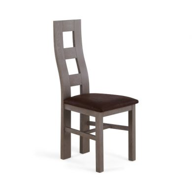 Willow Light Grey Solid Oak with Antiqued Brown Fabric Dining Chair