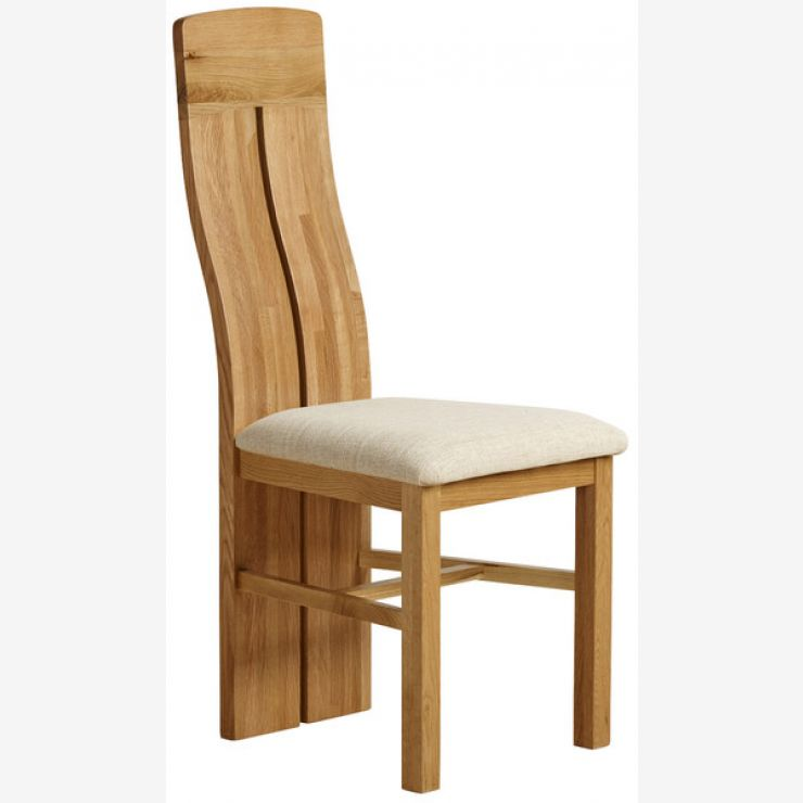 Lily Natural Solid Oak and Beige Plain Fabric Dining Chair - Image 3