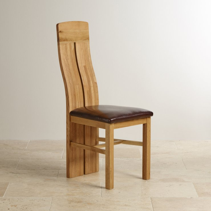Lily Natural Solid Oak and Brown Leather Dining Chair - Image 3