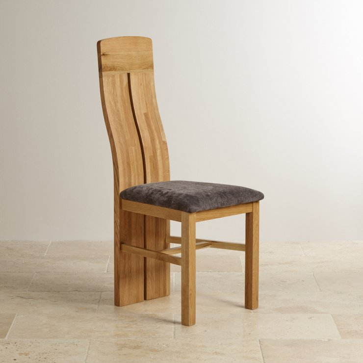 Lily Natural Solid Oak and Plain Charcoal Fabric Dining Chair