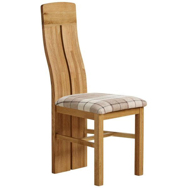 Lily Natural Solid Oak and Check Brown Fabric Chair