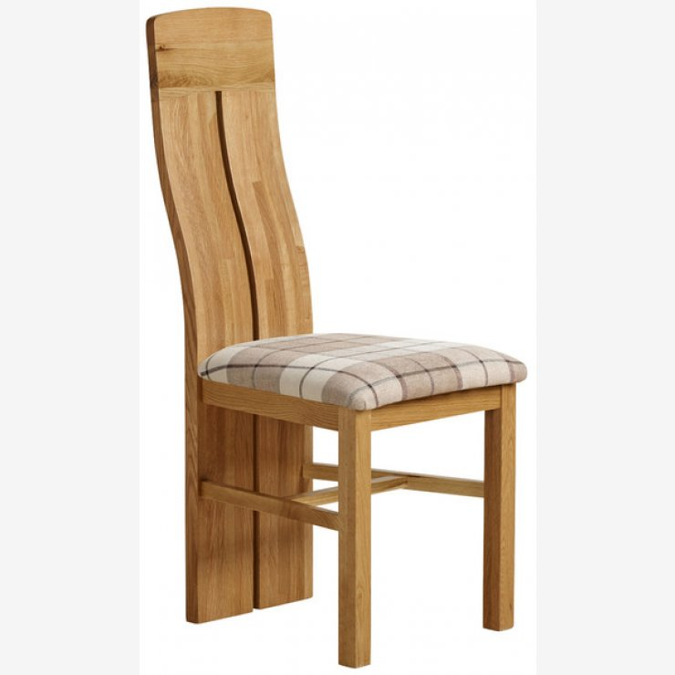 Lily Natural Solid Oak and Check Brown Fabric Chair - Image 4