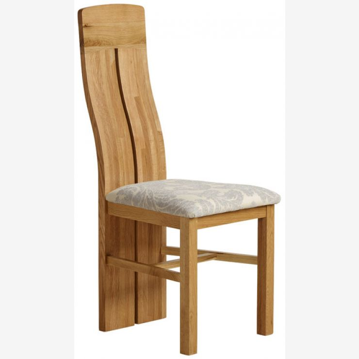 Lily Natural Solid Oak and Grey Patterned Fabric Dining Chair - Image 3