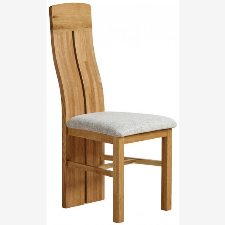 Lily Natural Solid Oak and Grey Plain Fabric Dining Chair - Image 3