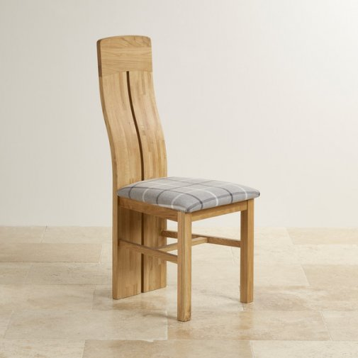 Lily Natural Solid Oak and Check Granite Fabric Dining Chair