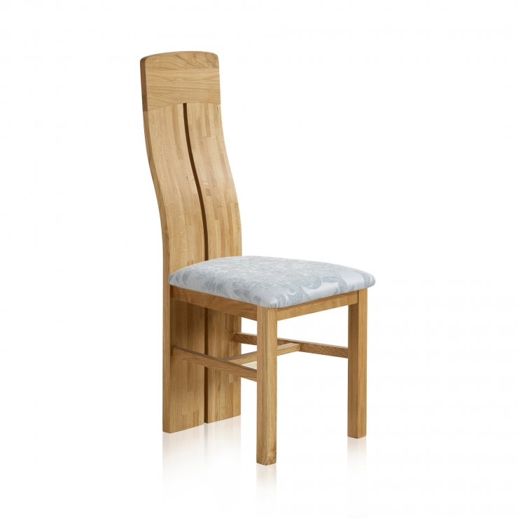Lily Natural Solid Oak and Patterned Duck Egg Fabric Dining Chair - Image 3