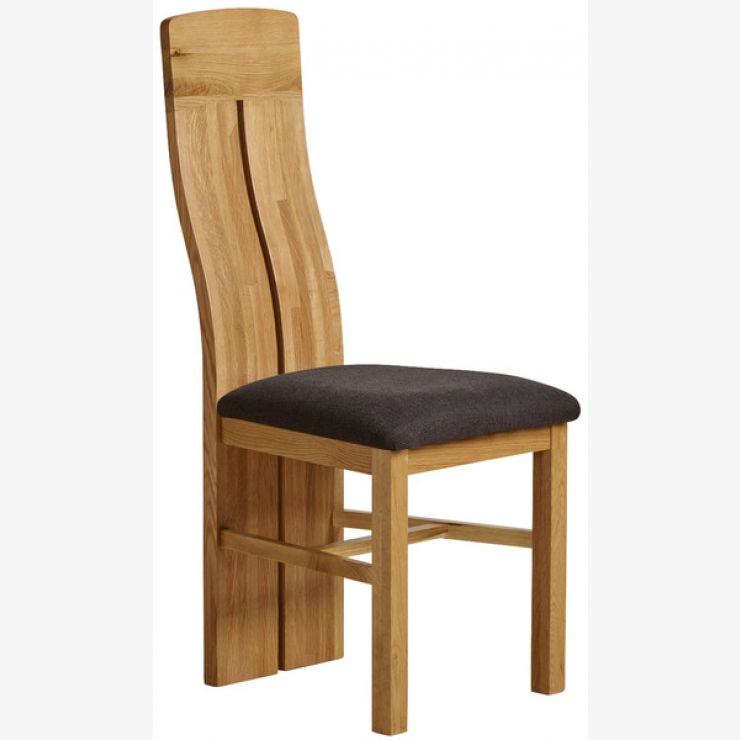Lily Natural Solid Oak and Plain Black Fabric Dining Chair - Image 3