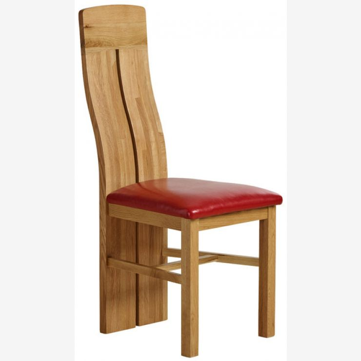 Lily Natural Solid Oak and Red Leather Dining Chair - Image 4