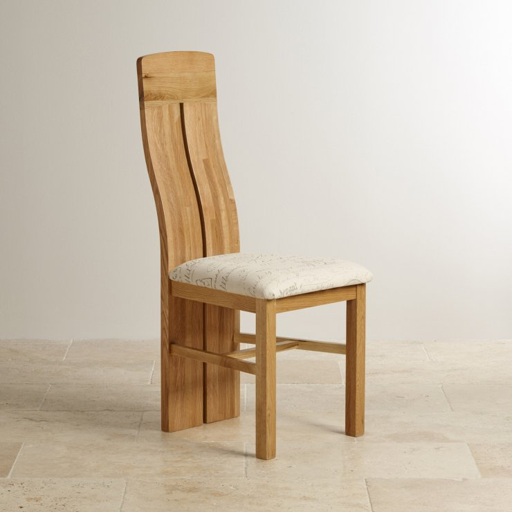 Lily Natural Solid Oak and Scripted Beige Fabric Chair