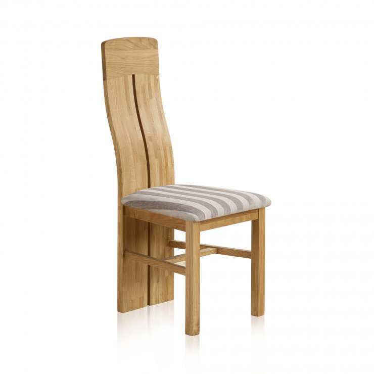 Lily Natural Solid Oak and Striped Silver Fabric Dining Chair - Image 3