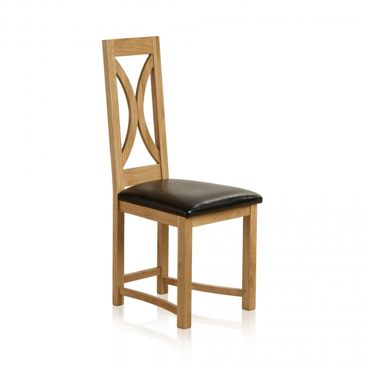 Loop Back Natural Solid Oak and Black Leather Dining Chair - Image 3