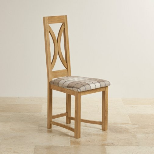 Loop Back Natural Solid Oak and Checked Brown Fabric Dining Chair