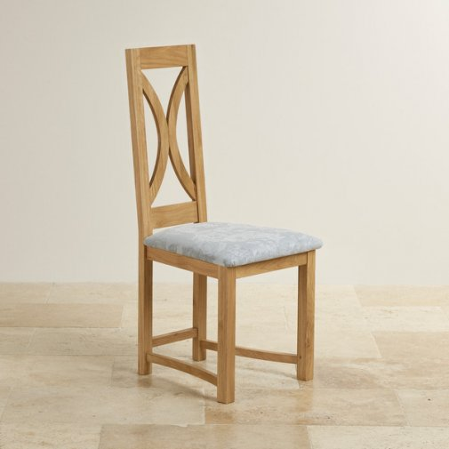 Loop Back Natural Solid Oak and Patterned Duck Egg Fabric Dining Chair