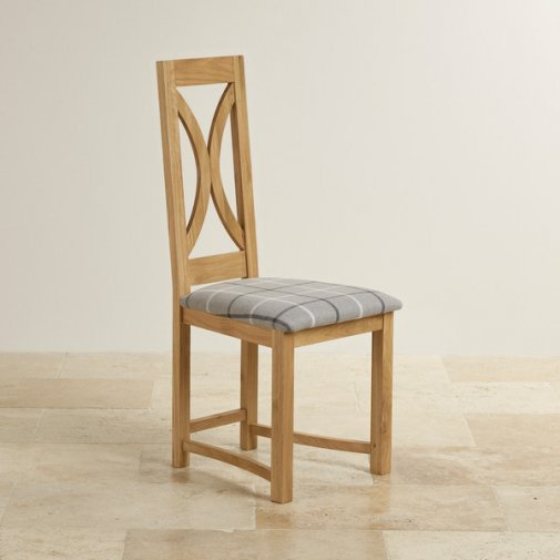Loop Back Natural Solid Oak and Check Natural Granite Dining Chair