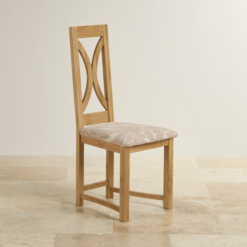 Loop Back Natural Solid Oak and Patterned Beige Fabric Dining Chair