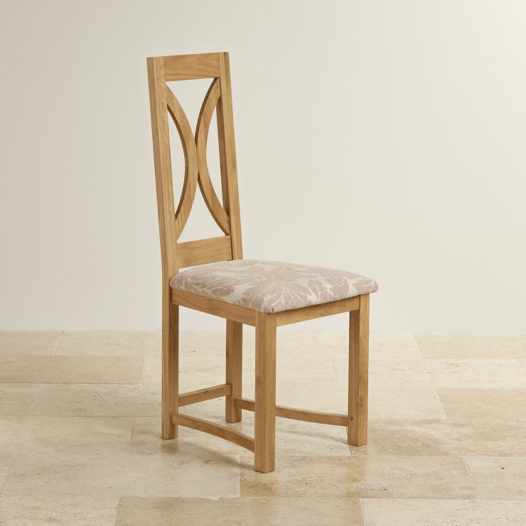 Loop Back Natural Solid Oak and Patterned Beige Fabric Dining Chair - Image 2